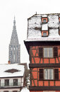 Red building in winter Strasbourg Royalty Free Stock Photo