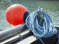 Red buoy at a fishing trawler Royalty Free Stock Image