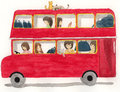 Red bus with girls and cat illustration in water color painting style Royalty Free Stock Photography
