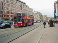 Red Bus For Tourists On The Streets Of Amsterdam Royalty Free Stock Photo