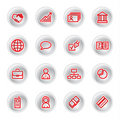Red business icons Stock Photo