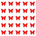 Red butterflies on white background repetition cards backgrounds