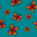 Red Butterfly on Green Teal Background. Vector Illustration. Royalty Free Stock Photo