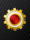 Red button with cogwheel background design Stock Image