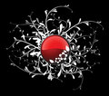 Red button with floral Royalty Free Stock Photo