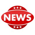 Red button with stars news Royalty Free Stock Photo