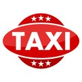 Red button with stars Taxi Royalty Free Stock Photo