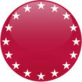 Red Button with White Stars Royalty Free Stock Photo