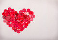 Red buttons in shape of heart Royalty Free Stock Photo