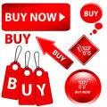 Red buy set white background vector illustration Royalty Free Stock Photos