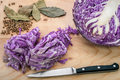 Red cabbage chopped and bisected ripe bay leaves and white pepper on a wooden cutting board Royalty Free Stock Image