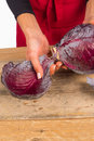 Red cabbage female hands holding a fresh Stock Photo