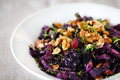 Red cabbage or red kraut with walnuts raisins and herbs ed as a side dish salad Royalty Free Stock Photo