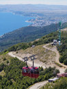Red cableway in cerro otto in bariloche patagonia argentina Royalty Free Stock Image