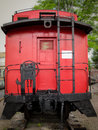 Red caboose bright at the rear of a train on display in chattanooga tennessee Stock Photography