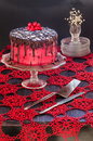 Red cake with poppy seeds marzipan and chocolate homemade from series winter pastry Royalty Free Stock Photo