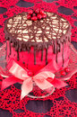 Red cake with poppy seeds marzipan and chocolate homemade from series winter pastry Royalty Free Stock Images