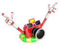 Red camera character dip tube ride create d camera robot series Stock Image