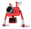 A Red Camera Character on handstanding. Create 3D Camera Robot S Royalty Free Stock Photography