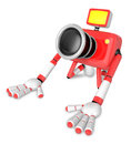 Red camera character kneel in prayer create d camera robot ser series Royalty Free Stock Image