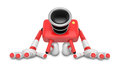 Red camera character kneel in prayer create d camera robot ser series Stock Image