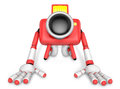 Red camera character kneel prayer create d camera robot series Royalty Free Stock Photos