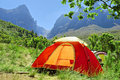 Red camping tent misty mountains springtime colors shot hottentots holland mountains nature reserve near somerset west cape town Royalty Free Stock Photo