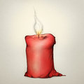 Red candle with flame Royalty Free Stock Photos