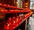 red candles in Frankfurt dom church, germany Royalty Free Stock Photo