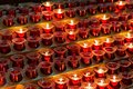 Red candles in the old church Royalty Free Stock Photo