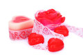 Red candles and ribbon Stock Images