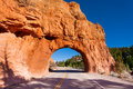 Red canyon road arch tunnel Utah, USA Royalty Free Stock Photo