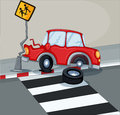 A red car bumping the signage near the pedestrian lane illustration of Stock Photos