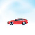 Red Car Hatchback Side View Royalty Free Stock Photo