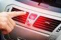 Red car hazard warning button Royalty Free Stock Photo