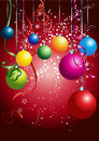 Red card with colorful christmas balls Royalty Free Stock Images