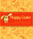 Red card with easter bunny on pattern hand drawn eggs bunnies and chickens Royalty Free Stock Photos