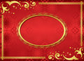 Red card with golden frame - vector Stock Photos