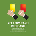 Red card and yellow card hand holding vector illustration Royalty Free Stock Photos