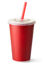 Red cardboard cup with a straw Royalty Free Stock Photo
