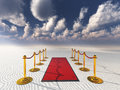 Red carpet in desert sands white Stock Images
