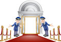 Red carpet entrance an illustration of a with velvet ropes and two doormen welcoming the viewer in Royalty Free Stock Photos
