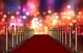 Red carpet entrance with Multi Colored Light Burst Royalty Free Stock Photo