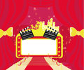 Red carpet hollywood premier abstract card movie clapper board frame Royalty Free Stock Images