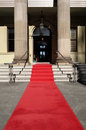 Red carpet, celebrity hotel or theater entrance, vertical, copy space Royalty Free Stock Photo