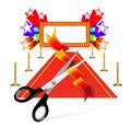 Red carpet with scissors and star background Stock Photo