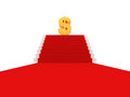 Red carpet on a stairs to golden dollar sign Royalty Free Stock Photo