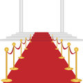 Red carpet with stairway and columns on white background Stock Photography