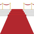 Red carpet with stairway on white background Royalty Free Stock Photo