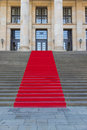 Red carpet on steps Stock Photo